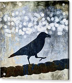 Crow Walking The Line Acrylic Print