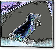 Crow With Crystal 2 Acrylic Print