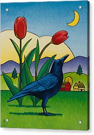 Crow With Red Tulips Acrylic Print