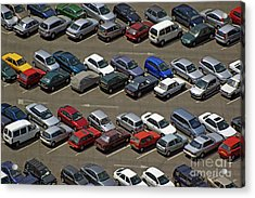 Crowded Carpark Full Of Cars Acrylic Print by Sami Sarkis