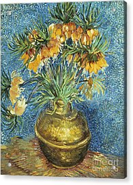 Crown Imperial Fritillaries In A Copper Vase Acrylic Print by Vincent Van Gogh