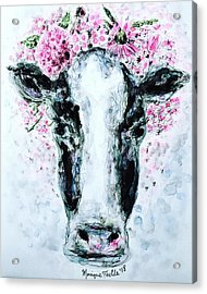 Crown Of Flowers Cow Acrylic Print