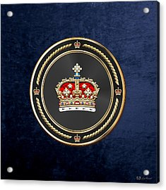 Crown Of Scotland Over Blue Velvet Acrylic Print