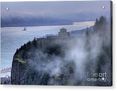 Crown Point Vista House Fog Columbia River Gorge Oregon Acrylic Print