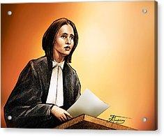 Crown Stephanie Venne Reads Daryn's Statement At The Rafferty's Sentencing Acrylic Print by Alex Tavshunsky