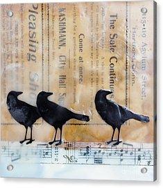 Crows Encaustic Mixed Media Acrylic Print by Edward Fielding
