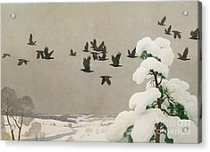 Crows In Winter Acrylic Print by Newell Convers Wyeth