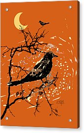 Crows On All Hallows Eve Acrylic Print by Arline Wagner