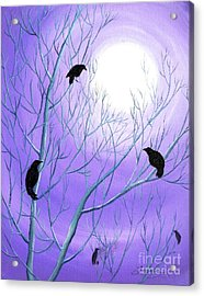 Crows On Empty Branches Acrylic Print by Laura Iverson