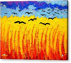 Crows Over Vincent's Field Acrylic Print by John  Nolan