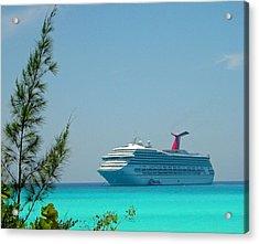 Cruise Ship At Half Moon Cay Acrylic Print by Gary Wonning