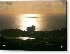 Cruise Ship At Sunset Acrylic Print by Gary Wonning