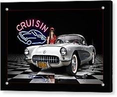 Cruisin' The Diner .... Acrylic Print by Rat Rod Studios