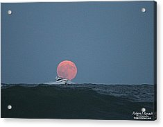 Cruising On A Wave During Harvest Moon Acrylic Print