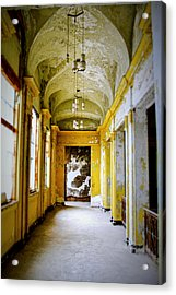 Crumbling Cathedral Corridor Acrylic Print by Keith Rousseau