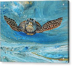 Acrylic Print featuring the painting Crush The Honu by Darice Machel McGuire