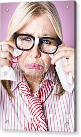 Cry Baby Businesswoman Crying A Waterfall Of Tears Acrylic Print by Jorgo Photography - Wall Art Gallery