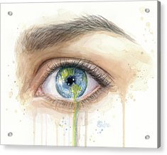 Earth In The Eye Crying Planet Acrylic Print
