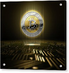 Cryptocurrency Hologram And Circuit Board Acrylic Print