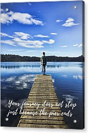 Crystal Blue Lake Pier And Person Journey Acrylic Print