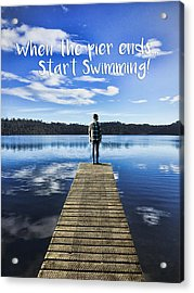 Crystal Blue Lake Pier And Person Swimming Acrylic Print