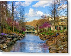 Crystal Bridges In Spring And Blue Skies Acrylic Print by Gregory Ballos