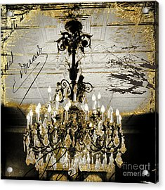 Crystal Chandelier Gold And Silver Acrylic Print by Mindy Sommers