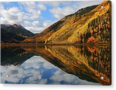 Acrylic Print featuring the photograph Crystal Lake Autumn Reflection by Jetson Nguyen