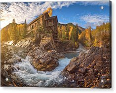 Crystal Mill Fall Sunrise Acrylic Print by Darren White