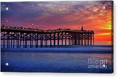 Crystal Pier In Pacific Beach Decorated With Christmas Lights Acrylic Print