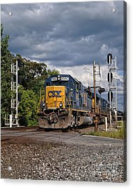 Csx Train Headed West Acrylic Print by Pamela Baker