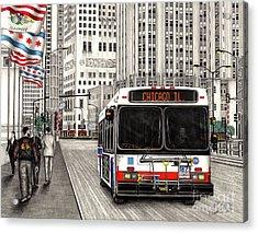 Cta Bus On Michigan Avenue Acrylic Print