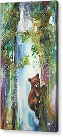 Acrylic Print featuring the painting Cub Bear Climbing by Christy Freeman