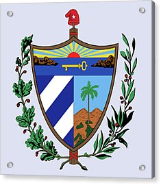 Acrylic Print featuring the drawing Cuba Coat Of Arms by Movie Poster Prints