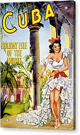 Cuba Holiday Isle Of The Tropics Vintage Poster Acrylic Print by Carsten Reisinger