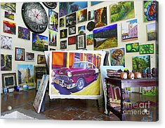 Cuba One Artists Studio Acrylic Print by Wayne Moran