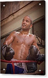 Acrylic Print featuring the photograph Cuban Boxer Ready For Sparring by Joan Carroll