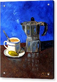 Cuban Coffee And Lime Blue Acrylic Print by Maria Soto Robbins