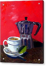 Cuban Coffee And Lime Red Acrylic Print by Maria Soto Robbins