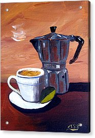 Cuban Coffee And Lime Tan Right Acrylic Print by Maria Soto Robbins