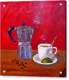 Cuban Coffee Beans And Lime Acrylic Print by Maria Soto Robbins