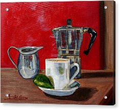 Cuban Coffee Lime And Creamer Acrylic Print by Maria Soto Robbins
