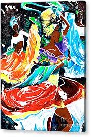 Cuban Dancers - Magical Rhythms... Acrylic Print by Elisabeta Hermann