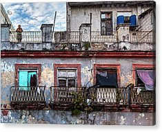 Acrylic Print featuring the photograph Cuban Woman At Calle Bernaza Havana Cuba by Charles Harden