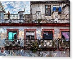 Cuban Woman At Calle Bernaza Havana Cuba Acrylic Print by Charles Harden