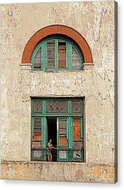Acrylic Print featuring the photograph Cuban Woman On San Pedro Balcony Havana Cuba by Charles Harden