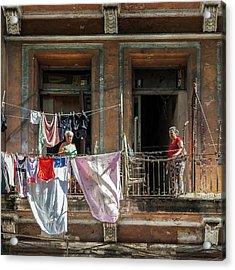 Cuban Women Hanging Laundry In Havana Cuba Acrylic Print by Charles Harden