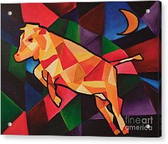 Cubism Cow Acrylic Print