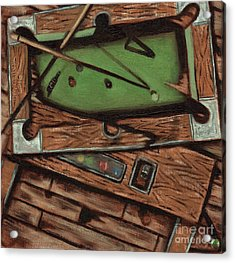 Acrylic Print featuring the painting Cubism Pool Table Billiard Art Print by Tommervik