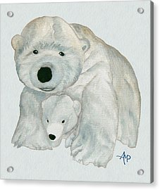 Cuddly Polar Bear Watercolor Acrylic Print